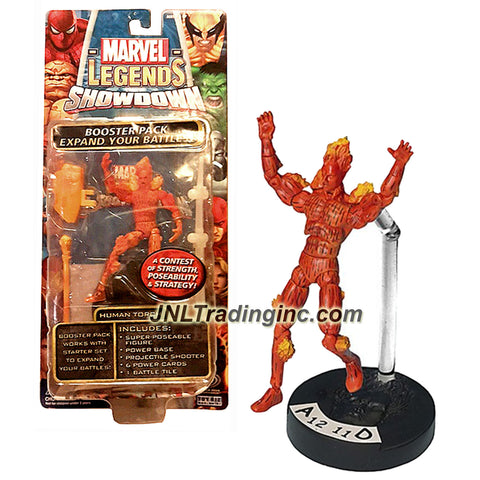 ToyBiz Year 2006 Marvel Legends Showdown Battle Booster Pack 4 Inch Tall Action Figure - HUMAN TORCH with Power Base, Projectile Shooter, 6 Power Cards and 1 Battle Tile