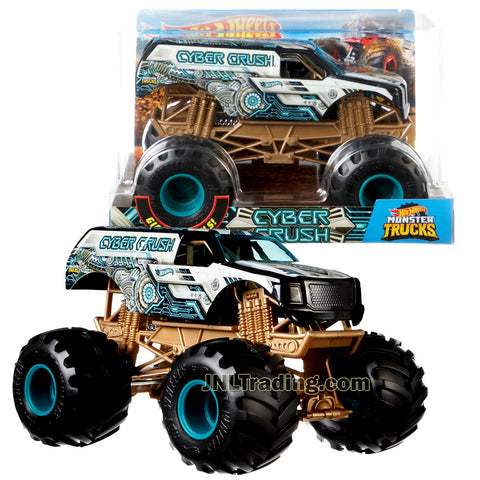Hot Wheels Year 2018 Monster Jam 1:24 Scale Die Cast Metal Body Truck - CYBER CRUSH FYJ91 with Monster Tires, Working Suspension and 4 Wheel Steering
