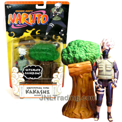 Year 2006 Shonen Jump's Naruto Series 5-1/2 Inch Tall Action Figure - SUBSTITUTION JUTSU KAKASHI HATAKE with Ultimate Illusion Feature Plus Illusion Tree