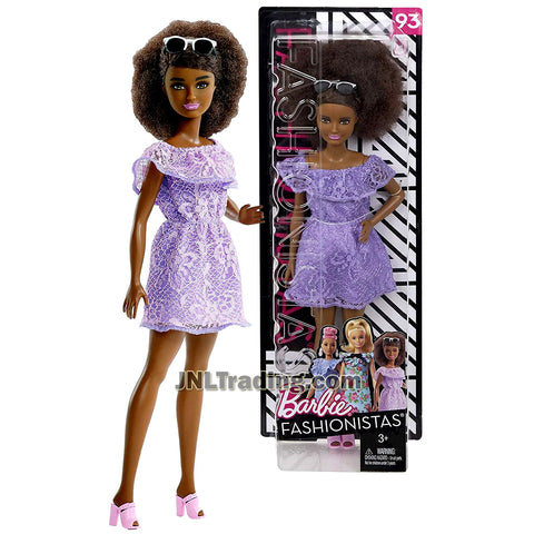 Barbie Year 2017 Fashionistas Series 12 Inch Doll Set #93 - African American BARBIE FJF53 in Purple Living Lace Dress with Sunglasses