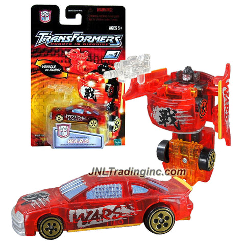 Hasbro Year 2001 Transformers Robots In Disguise Spy Changers Series 3 Inch Tall Robot Action Figure - Autobot W.A.R.S with Machine Gun Blaster (Vehicle Mode: Wicked Attack Recon Sports Car)