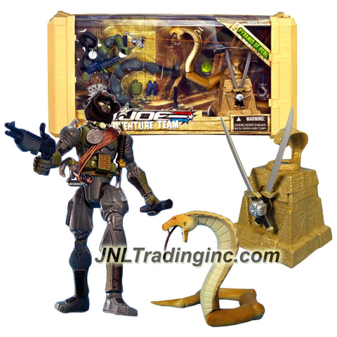 Hasbro Year 2007 G.I. JOE Adventure Team Series 8 Inch Tall Action Figure Set - PYRAMID OF PERIL with SNAKE EYES, Binoculars, Canteen, Flashlight, Fastshot Blaster, Raider Zipline, Weapons Case Plus Cobra Snake with Ruin-Ripping Sword and Pedestal