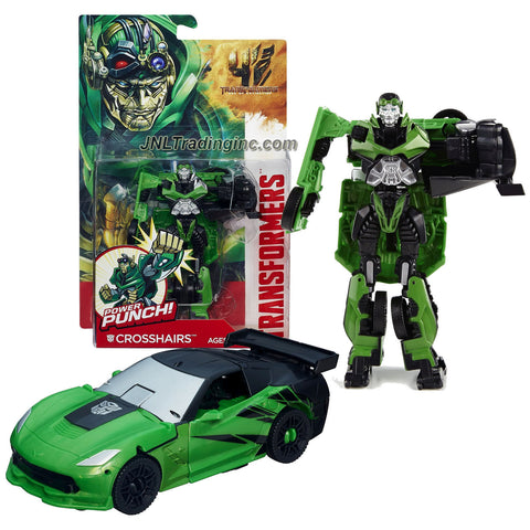 "Hasbro Year 2013 Transformers Movie Series 4 ""Age of Extinction"" Power Attacker 5-1/2 Inch Tall Robot Action Figure - Autobot CROSSHAIRS with Power Punch Feature (Vehicle Mode: Corvette)"