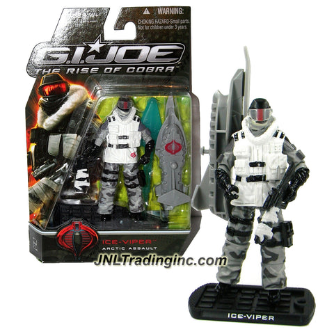 "Hasbro Year 2008 G.I. JOE Movie ""The Rise of Cobra"" Series 4 Inch Tall Action Figure - Arctic Assault ICE-VIPER with Assault Rifle, Gun, Skipedo with Missile Launcher, 1 Missile and Display Base"