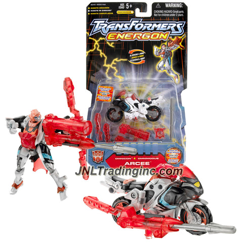 Hasbro Year 2003 Transformers Energon Series Omnicon Class 4 Inch Tall Robot Action Figure - Autobot ARCEE with Energon Bow, Arrow Missile and Chestplate (Vehicle Mode: Sport Motorcycle)
