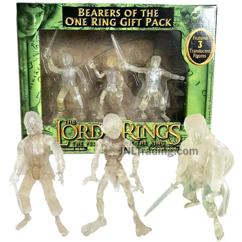 Year 2004 Lord of the Rings The Fellowship of the Ring Gift Pack - BEARERS OF THE ONE RING with Translucent Prologue Bilbo, Gollum and Twilight Frodo