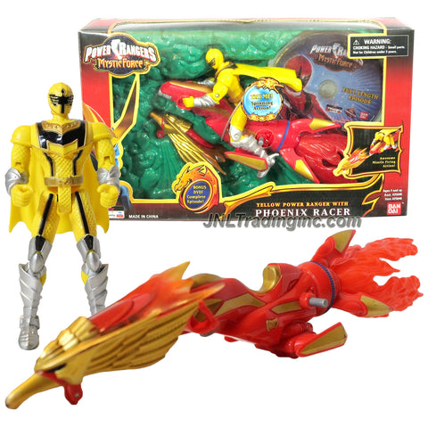 Bandai Year 2006 Power Rangers Mystic Force 7 Inch Long Action Vehicle Set - PHOENIX RACER with Spinning Flame, Missile Launcher, Phoenix Head Missile and Yellow Power Ranger Plus Full Episode DVD Yellow Ranger Figure Plus DVD