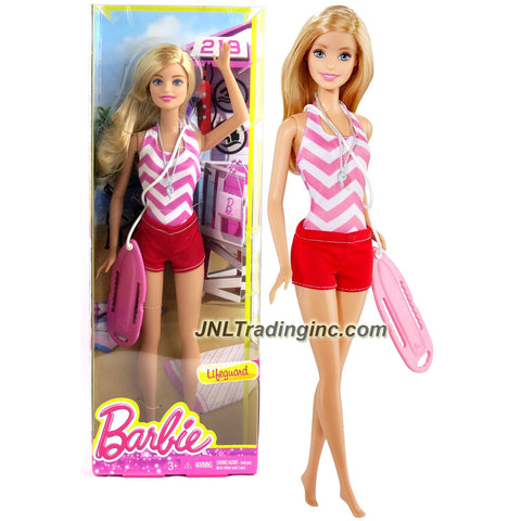 Mattel Year 2014 Barbie Career Series 12 Inch Doll - Barbie as LIFEGUARD (CKJ83) with Whistle Necklace and Rescue Can