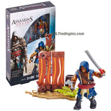 Mega Bloks Year 2015 Assassins Creed Series Micro Figure CNG88 - ADEWALE with Detachable Hood, Machete, Pistol & Hidden Blade Plus Buildable Display Environment