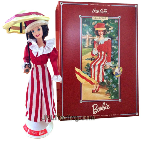 Year 1997 Barbie Collector Edition Coca-Cola Fashion Series Classic 12 Inch Doll - After the Walk Doll in Colorful Red White Dress with Jacket, Hat, Doll Stand and Certificate of Authenticity