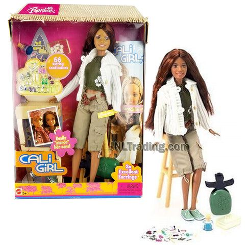 Year 2004 Barbie Cali Girl Series 12 Inch Doll - SUMMER in Tank Top, White Sweater and Khaki Cargo Capris with Ear Piercer, Stool and Earrings