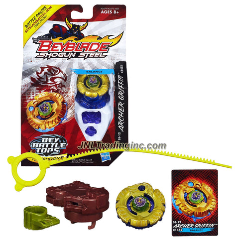 Hasbro Year 2013 Beyblade Shogun Steel Bey Battle Tops with Synchrome Technology - Balance C145S SS-12 ARCHER GRIFFIN with Shogun Face Bolt, Griffin Warrior Wheel, Archer Element Wheel, C145 Spin Track, S Performance Tip and Ripcord Launcher Plus Online Code