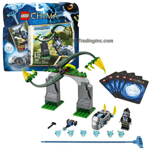 Lego Year 2013 Legends of Chima Series Game Set #70109 - WHIRLING VINES with Jungle Gate, Spinning Fangs, Gorilla Speedor, Ripcord, Power-Up, 6 CHI and 5 Game Cards Plus GORZAN Minifigure (Total Pieces: 81)