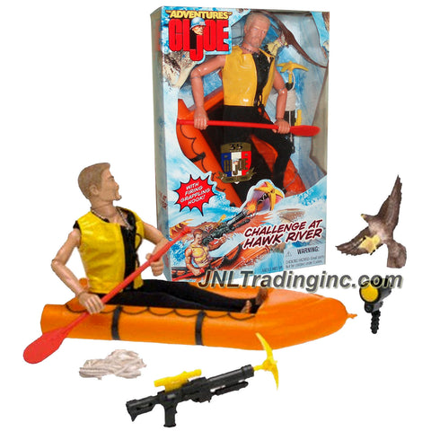 Hasbro Year 1998 G.I. JOE Adventures Series 12 Inch Tall Action Figure - CHALLENGE AT HAWK RIVER with Adventurer, Raft with Paddle, Grappling Hook Launcher, Grappling Hook, Rope, Flashlight, Life-Jacket, Wetsuit and Hawk