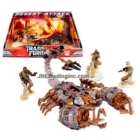 "Hasbro Year 2007 Transformers Movie Screen Battles Series Robot Action Figure Set - DESERT ATTACK with Deluxe Class 5 Inch Tall SCORPONOK and 3 Soldier Mini Figures (2"" Tall)"