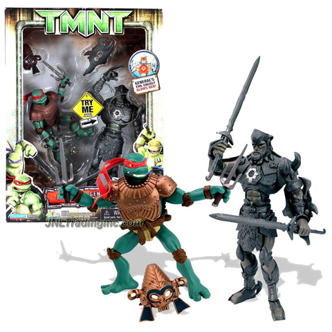 Playmates Year 2006 Teenage Mutant Ninja Turtles TMNT Movie Series 2 Pack Action Figure Set - RAPH with 2 Sais and Ancient Armor vs GENERAL AGUILA with Glowing Red Light Plus 2 Swords and Removable Gauntlet Shield