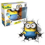 3DLightFX Minions Series Battery Operated 9 Inch Tall 3D Deco Night Light - BOB Minion with Light Up LED Bulbs and Crack Sticker