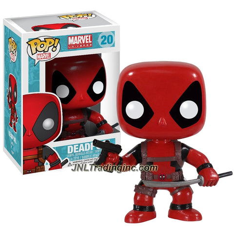 Funko Pop! Marvel Universe Heroes 4 Inch Tall Vinyl Figure #20 - DEADPOOL with Submachine Gun and Katana Sword