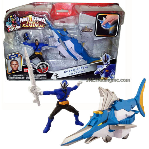 "Bandai Year 2011 Power Rangers Samurai Series Action Figure Zord Vehicle Set - SWORDFISH ZORD with 3-1/2 Inch Tall Water Blue Mega Ranger ""Kevin"" and Removable Mask"