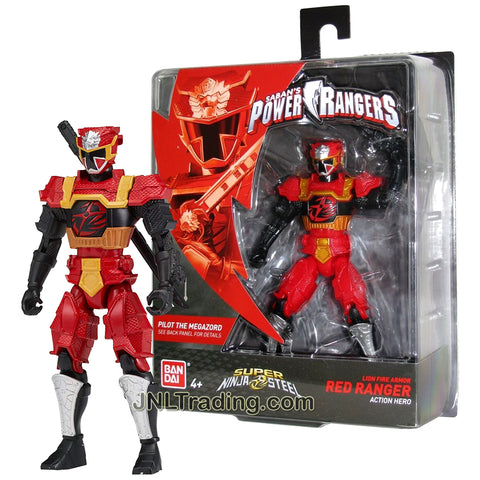 Year 2018 Power Rangers Super Ninja Steel Series 5 Inch Tall Figure - Action Hero Lion Fire Armor Red Ranger with Katana Sword
