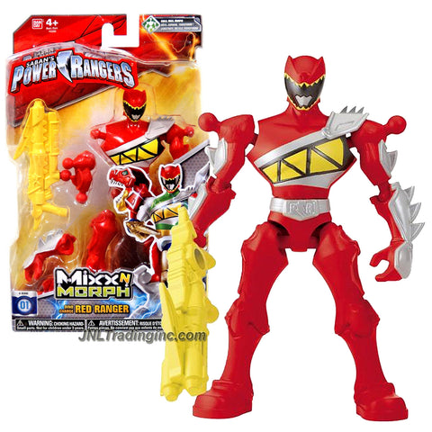Bandai Year 2015 Saban's Power Rangers Mixx N Morph Series 7 Inch Tall Action Figure -  Dino Charge RED RANGER with Blaster