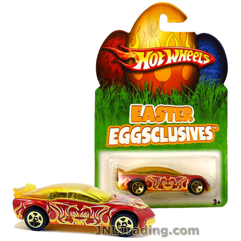 Hot Wheels Year 2007 Easter Eggsclusives Series 1:64 Scale Die Cast Car Set - Red Coupe PONTIAC RAGEOUS with Yellow Flame Decorations N1137