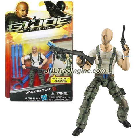 "Hasbro Year 2012 G.I. JOE Movie Series ""Retaliation"" 4 Inch Tall Action Figure - JOE COLTON (Bruce Willis) with Revolver Pistol, Rifle, Missile Launcher, Ripcord and 4 Missiles"