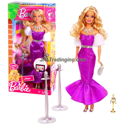 "Mattel Year 2011 Barbie ""I Can Be"" Series 12 Inch Doll Set - Actress BARBIE (X3124) with Glimmering Purple Dress, Faux Fur Scarf, Necklace, Earrings, Shoes and Purse Plus Award Statue and 2 Poles with Rope"