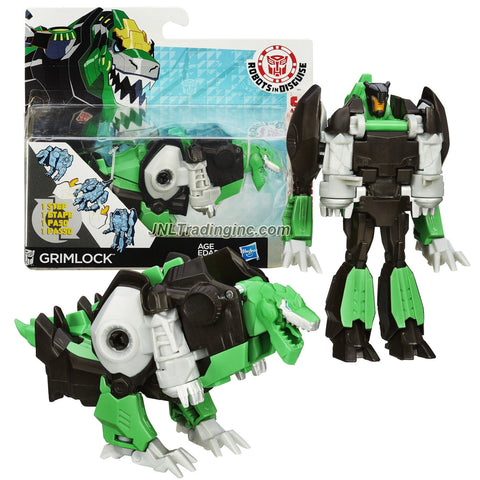 Hasbro Year 2014 Transformers Robots in Disguise Animation Series One Step Changer 5 Inch Tall Robot Action Figure - Autobot GRIMLOCK (Beast Mode: T-Rex Dinosaur)