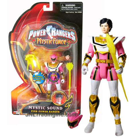 Bandai Year 2006 Power Rangers Mystic Force Series 5-1/2 Inch Tall Action Figure - MYSTIC SOUND PINK POWER RANGER with Sound FX, Alternative Head Plus Magi Staff and Magic Wand that Glow in the Dark