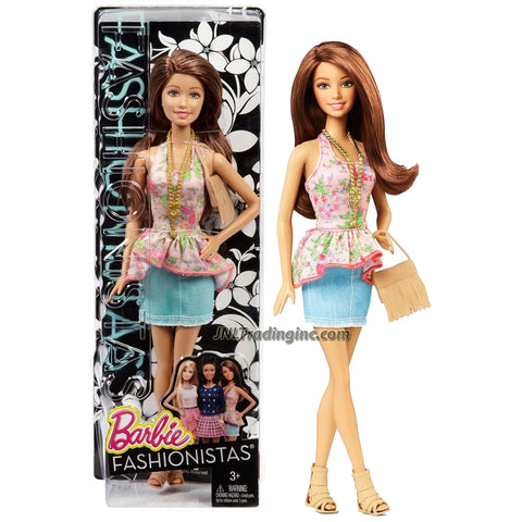 Mattel Year 2014 Barbie Fashionistas Series 12 Inch Doll Set - TERESA (CFG14) in Floral Pattern Neck Strap Top and Light Blue Denim Skirt Plus Purse and Necklace