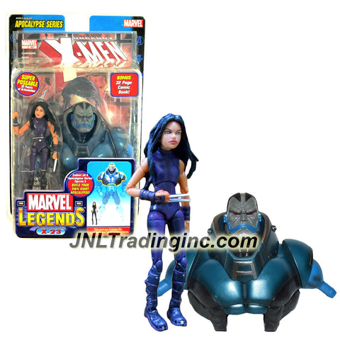 "ToyBiz Year 2005 Marvel Legends Apocalypse Series 6 Inch Tall Action Figure - Purple Suit X-23 with 32 Points of Articulation Plus ""Upper Torso and Head"" of Apocalypse and 32 Page Comic Book"
