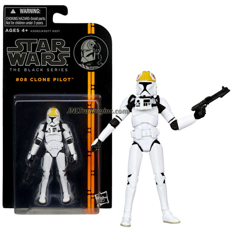 "Hasbro Year 2013 Star Wars ""The Black Series"" 4 Inch Tall Action Figure - #08 CLONE PILOT with Removable Helmet and Blaster Gun"