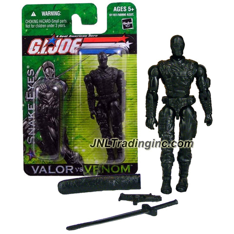 "Hasbro Year 2004 G.I. JOE ""Valor Vs. Venom"" Series 4 Inch Tall Action Figure - GI JOE Covert Mission Specialist SNAKE EYES with Submachine Gun, Katana Sword and Sheath"