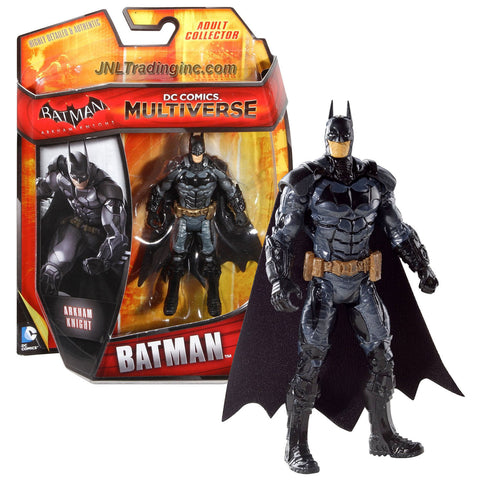 "Mattel Year 2014 DC Comics Multiverse Batman Arkham Knight Series 4"" Tall Figure - BATMAN (BHD37) with Gold Color Utility Belt"