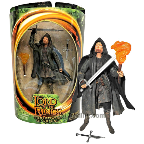Year 2001 Lord of The Rings Fellowship of The Ring Series 7 Inch Tall Figure - STRIDER (Aragorn) with Sword, Torch and Broken Sword