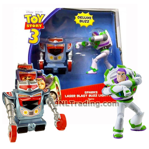 Mattel Year 2009 Disney Pixar Toy Story 3 Movie Series 2 Pack 5 Inch Tall Deluxe Action Figure - SPARKS and LASER BLAST BUZZ LIGHTYEAR V7115