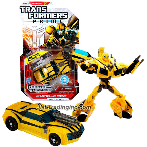 Hasbro Year 2011 Transformers Robots in Disguise Prime Series 1 Deluxe Class 6 Inch Tall Robot Action Figure #1 - Autobot BUMBLEBEE with 2 Snap-On Blasters (Vehicle Mode: Sports Car)