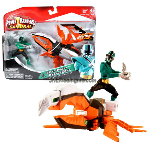 Bandai Year 2011 Power Rangers Samurai Series Action Figure Zord Vehicle Set - BEETLE ZORD with 3-1/2 Inch Tall Forest Green Power Ranger