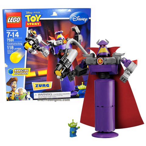 "Lego Year 2010 Special Edition Disney Pixar Movie ""Toy Story"" Series Set #7591 - Construct-a-Zurg with Rotating Waist and Sphere-Shooting Cannon and Alien Minifigure (Total Pieces: 118)"