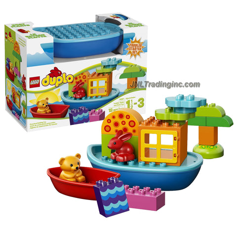 Lego Duplo Year 2014 Toddler Starter Set #10567 - TODDLER BUILD AND BOAT FUN with 2 Boats Plus Red Rabbit and Cute Bear Figure (Total Pieces: 18)