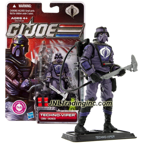Year 2011 GI JOE A Real American Hero 30th Anniversary 4 Inch Tall Figure - Cobra Engineer TECHNO-VIPER with Welder Pistol, Hammer, Case with Gun and Base