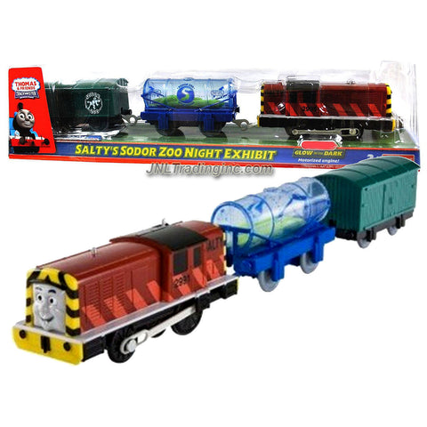 "Fisher Price Year 2009 Thomas and Friends ""Glow in the Dark"" Trackmaster Battery Powered 3 Pack Train Set - SALTY's SODOR ZOO NIGHT EXHIBIT with Aquarium Tank Filled with ""Eel"" Car and Green Caboose"