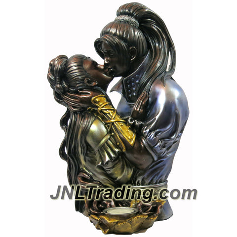 European Renaissance Art 12-1/2 Inch Tall High Quality Resin Statue Sculpture Candle Holder - Bronze Color COUPLE KISSING