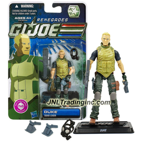 Hasbro Year 2011 G.I. JOE Renegades Series 4 Inch Tall Action Figure - Squad Leader DUKE with Plasma Pulse Pistols, Plasma Pulse Rifle, Gas Mask and Display Stand
