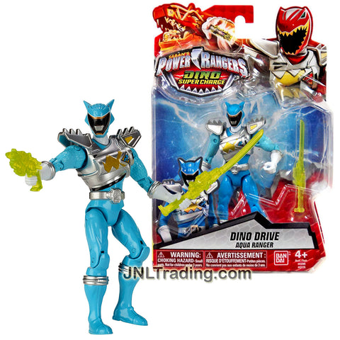 Bandai Year 2016 Saban's Power Rangers Dino Super Charge Series 5 Inch Tall Action Figure - Dino Drive AQUA RANGER with Blaster and Sword