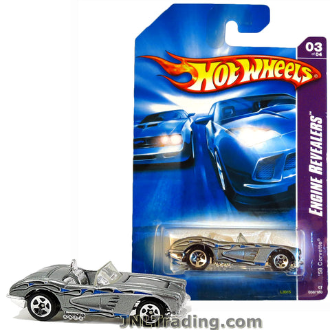 Hot Wheels Year 2006 Engine Revealers Series 1:64 Scale Die Cast Car Set #59 - Silver Convertible Coupe '58 CORVETTE (2/4) L3015 with Blue Flame Deco