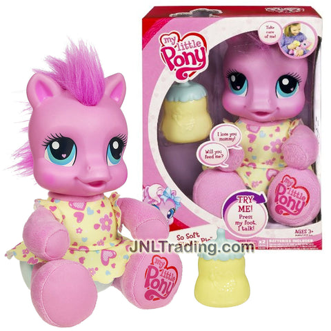 Hasbro Year 2009 My Little Pony Newborn Series 8 Inch Tall Electronic Plush - SO SOFT PINKIE PIE with Sounds Plus Baby Bottle