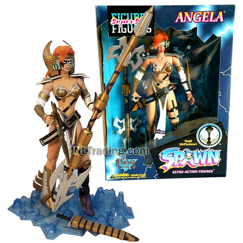 Year 1996 McFarlane Toys Spawn Series 12 Inch Tall Super Size Figure : ANGELA with Spear, Sword and Display Base
