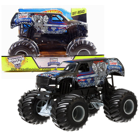 "Hot Wheels Year 2014 Monster Jam 1:24 Scale Die Cast Metal Body Official Monster Truck Series #CCB16 - Linsey Weenk Lucas Oil CRUSADER with Monster Tires, Working Suspension and 4 Wheel Steering (Dimension : 7"" L x 5-1/2"" W x 4-1/2"" H)"
